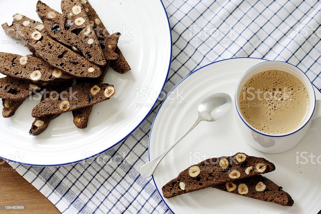 Chocolate and hazelnut biscotti royalty-free stock photo