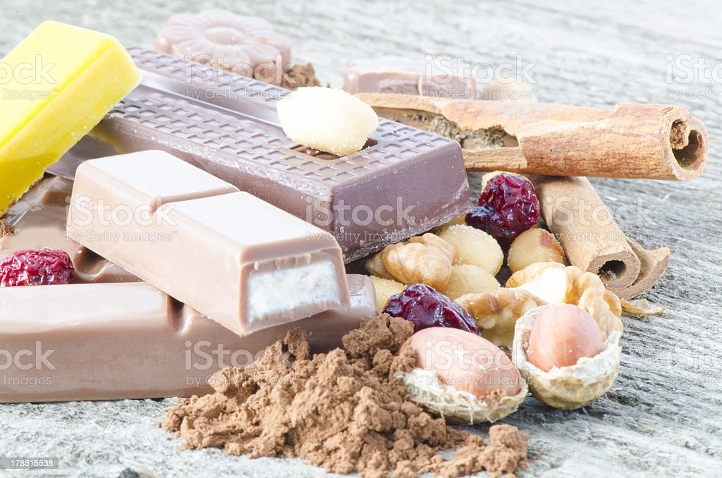 Chocolate and ingredients royalty-free stock photo