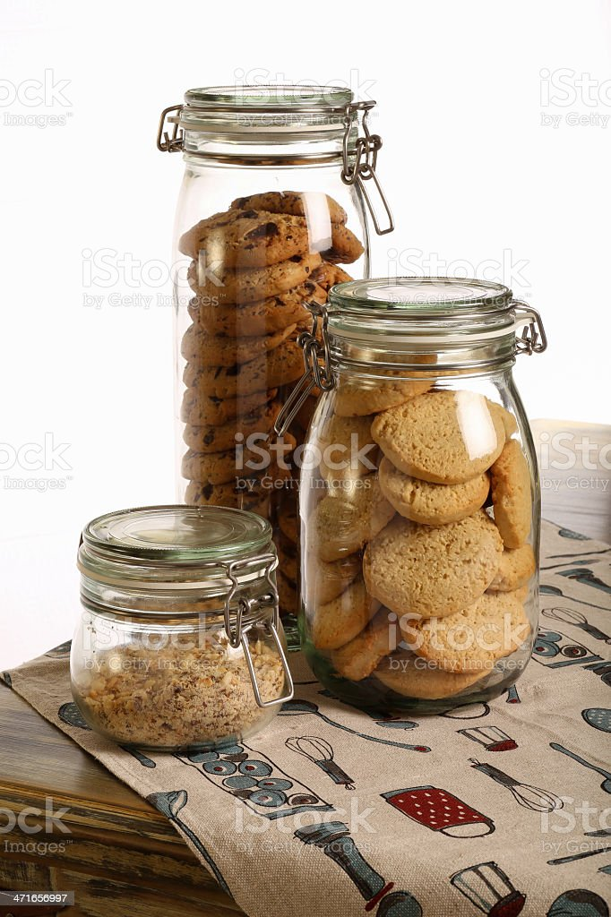 Chocolate and Lavender Cookies with Crushed Hazelnuts in a Jar royalty-free stock photo