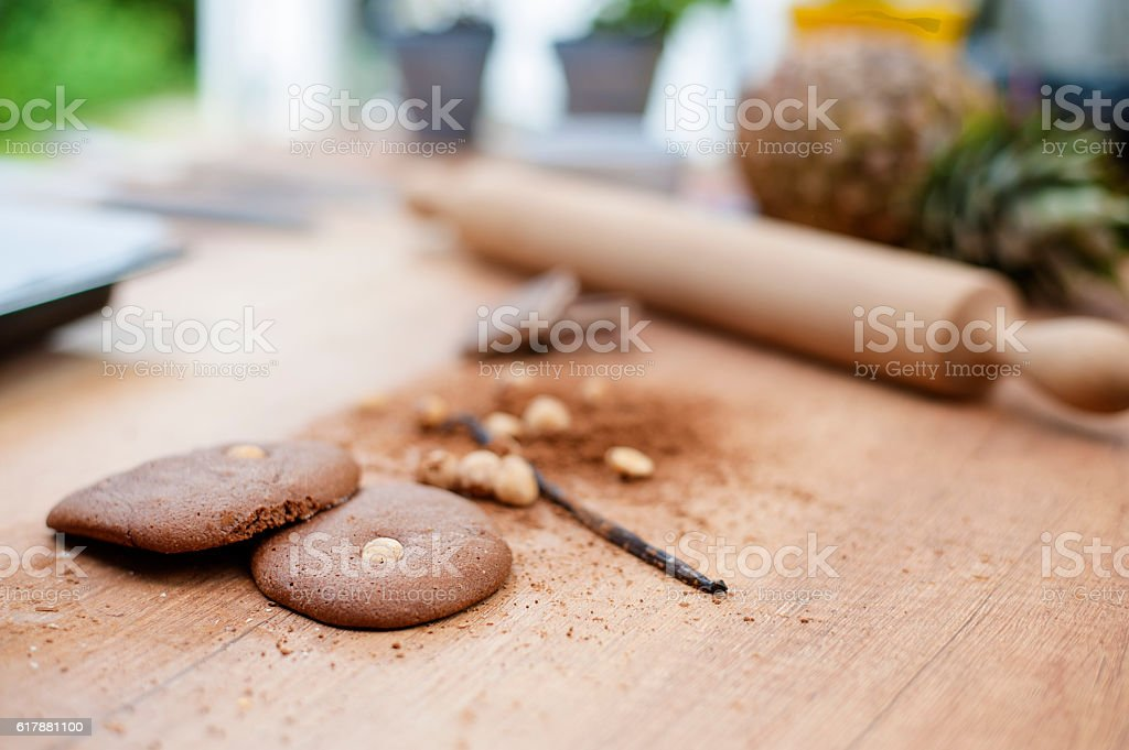 Chocolate and nut cookies stock photo