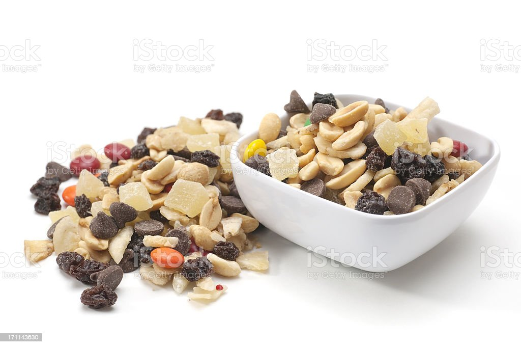 chocolate and nut trail mix stock photo