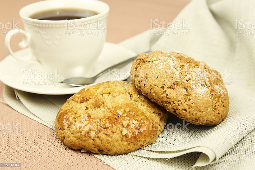 Chocolate and nuts cookies and tea, selective focus stock photo