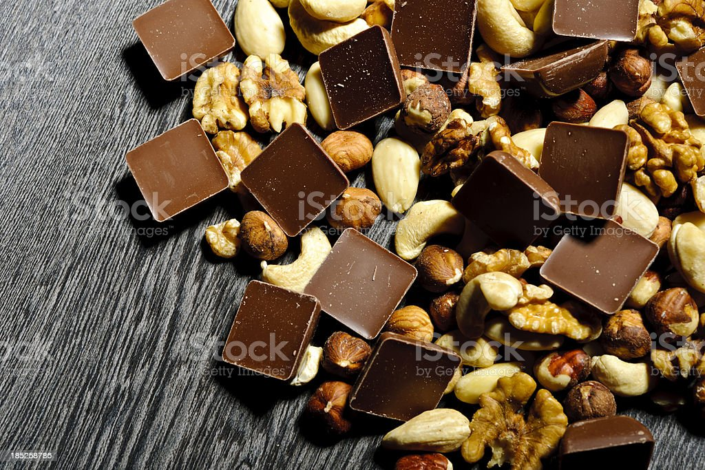 chocolate and nuts royalty-free stock photo