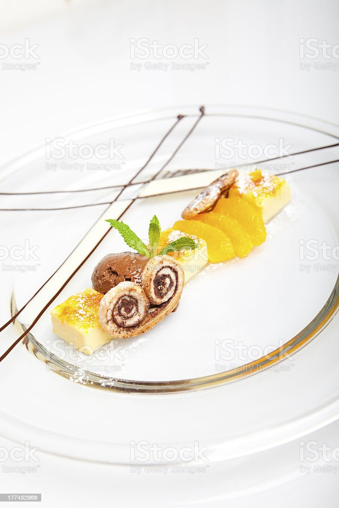 Chocolate and orange dessert with Palmier biscuits royalty-free stock photo