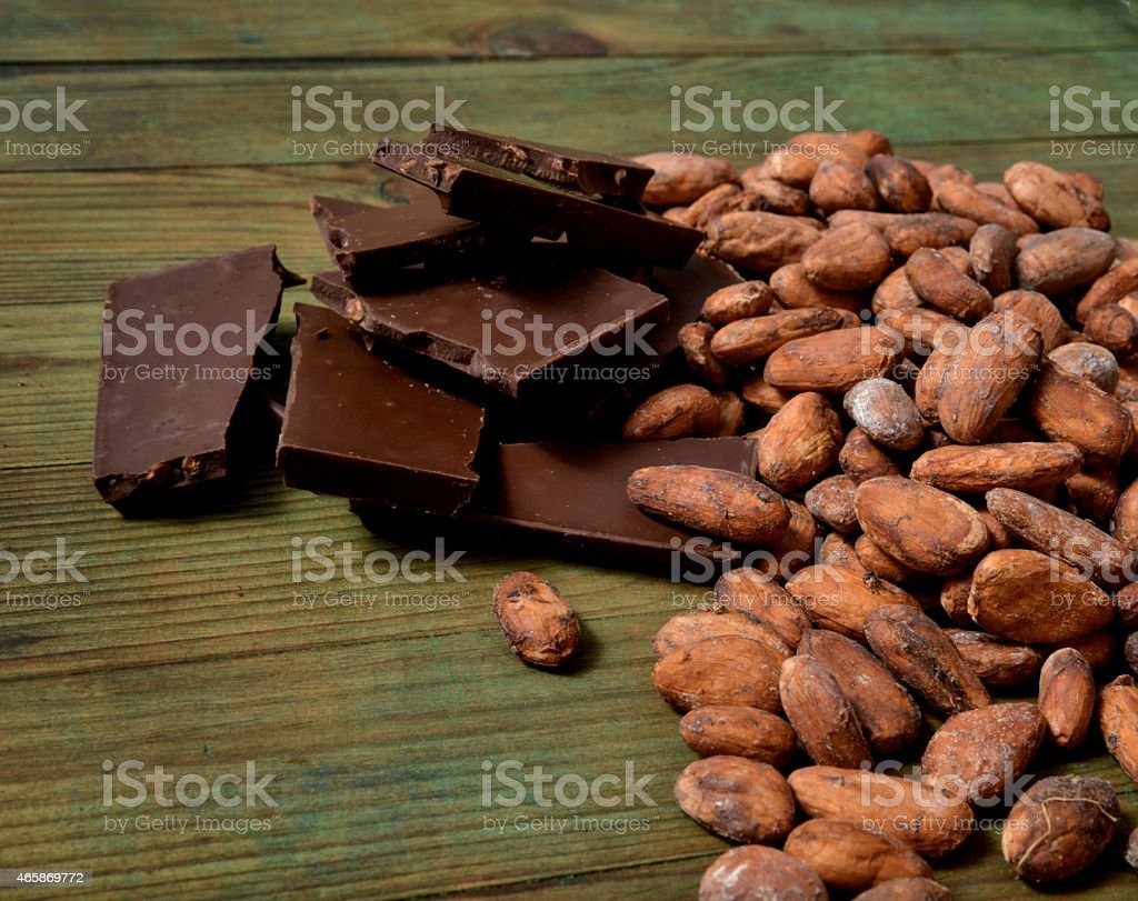 Chocolate and organic cocoa beans stock photo