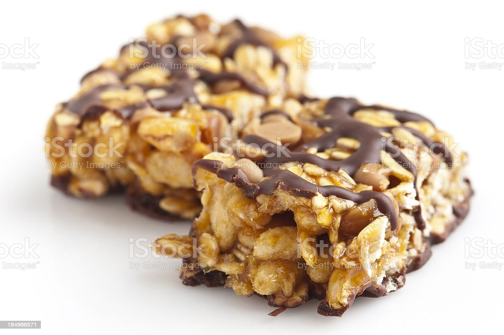 Chocolate and peanut butter energy bar stock photo