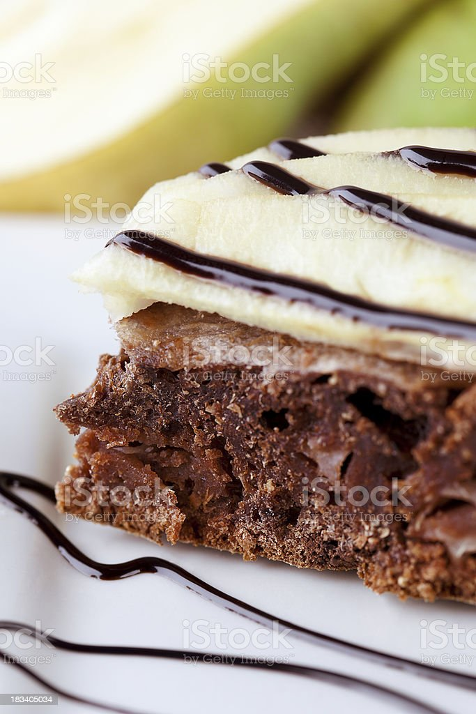 Chocolate and pear cake royalty-free stock photo