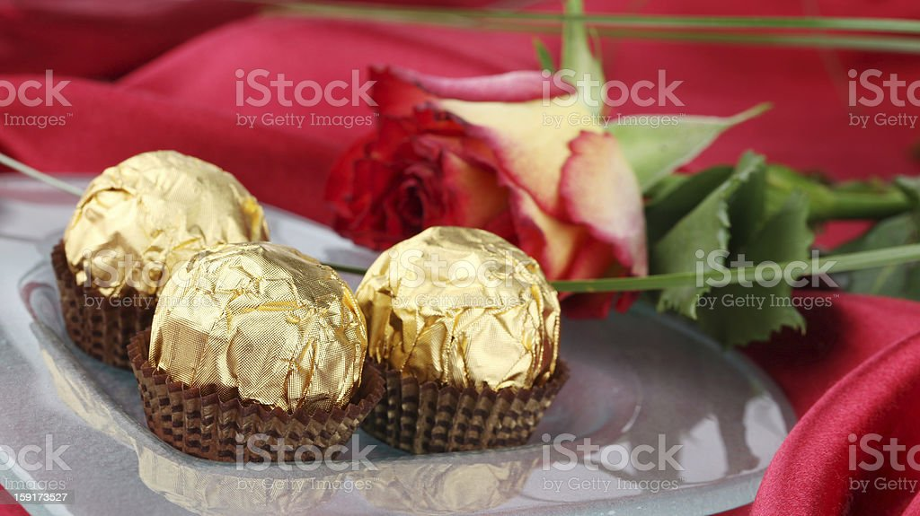 Chocolate and rose royalty-free stock photo
