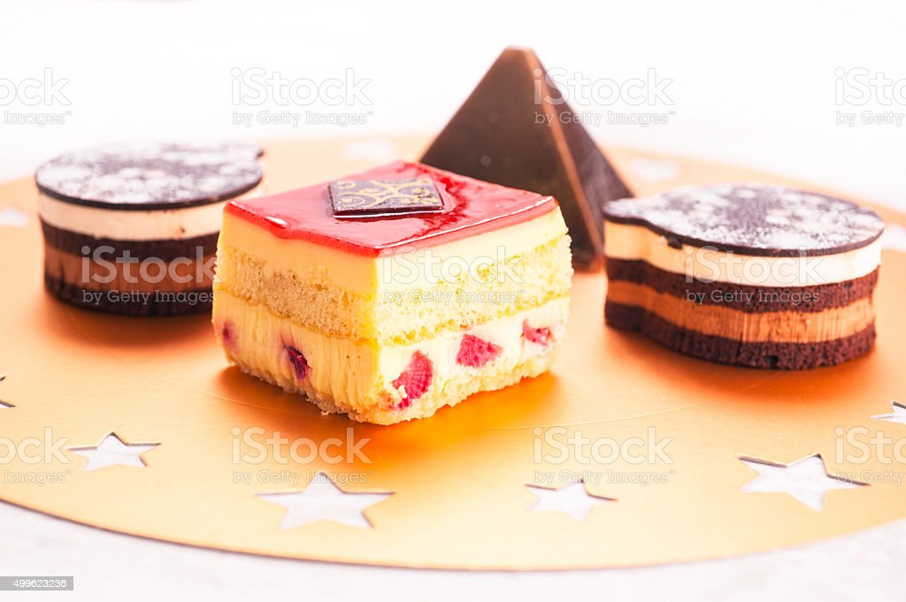 Chocolate and strawberry party cakes stock photo