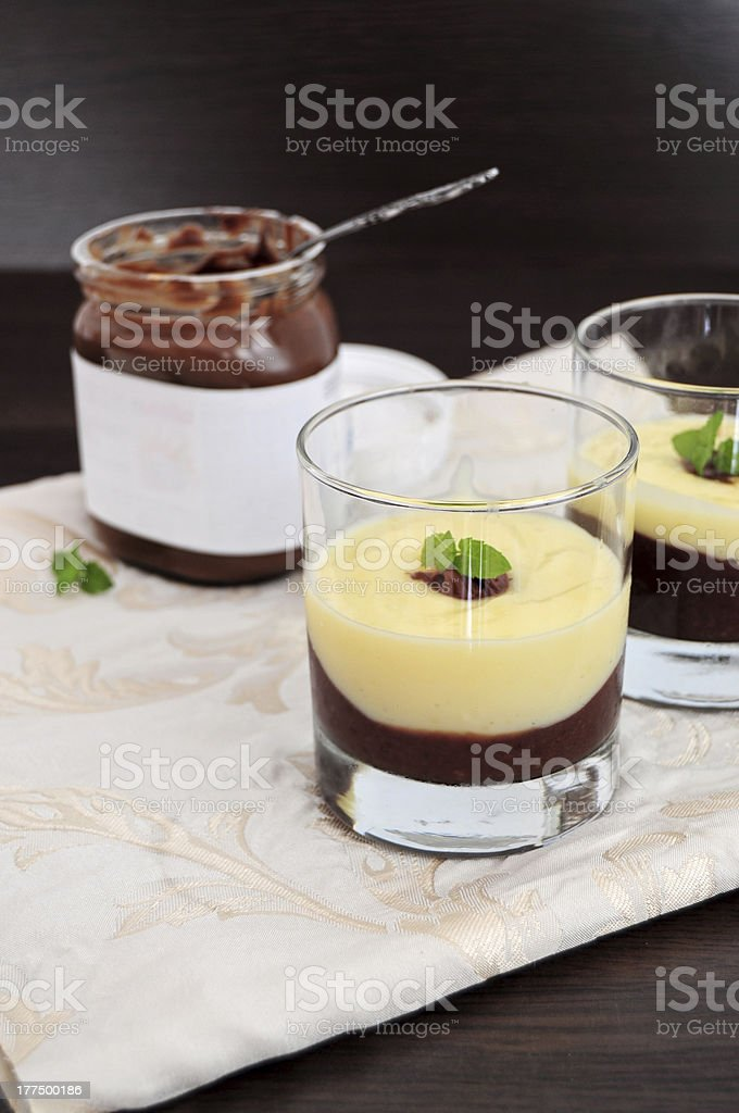 Chocolate and vanilla cream royalty-free stock photo