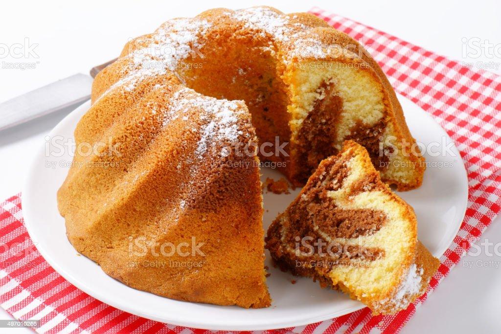 Chocolate and vanilla Kugelhopf cake stock photo