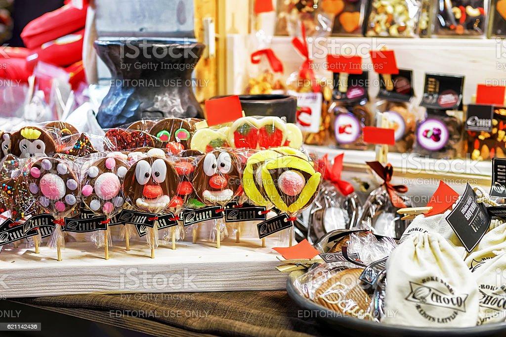 Chocolate animal lollipops displayed at Riga Christmas market stock photo