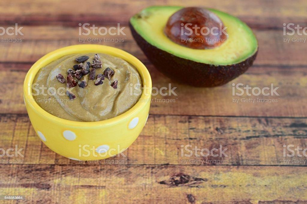Chocolate avocado mousse stock photo
