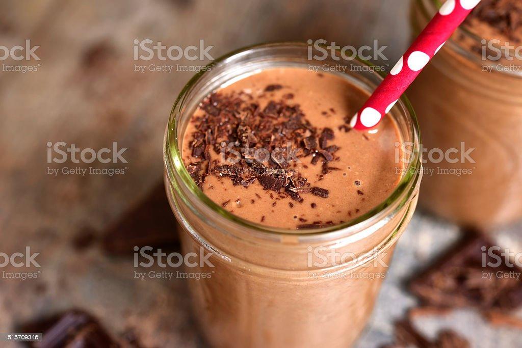 Chocolate babnana smoothie. stock photo