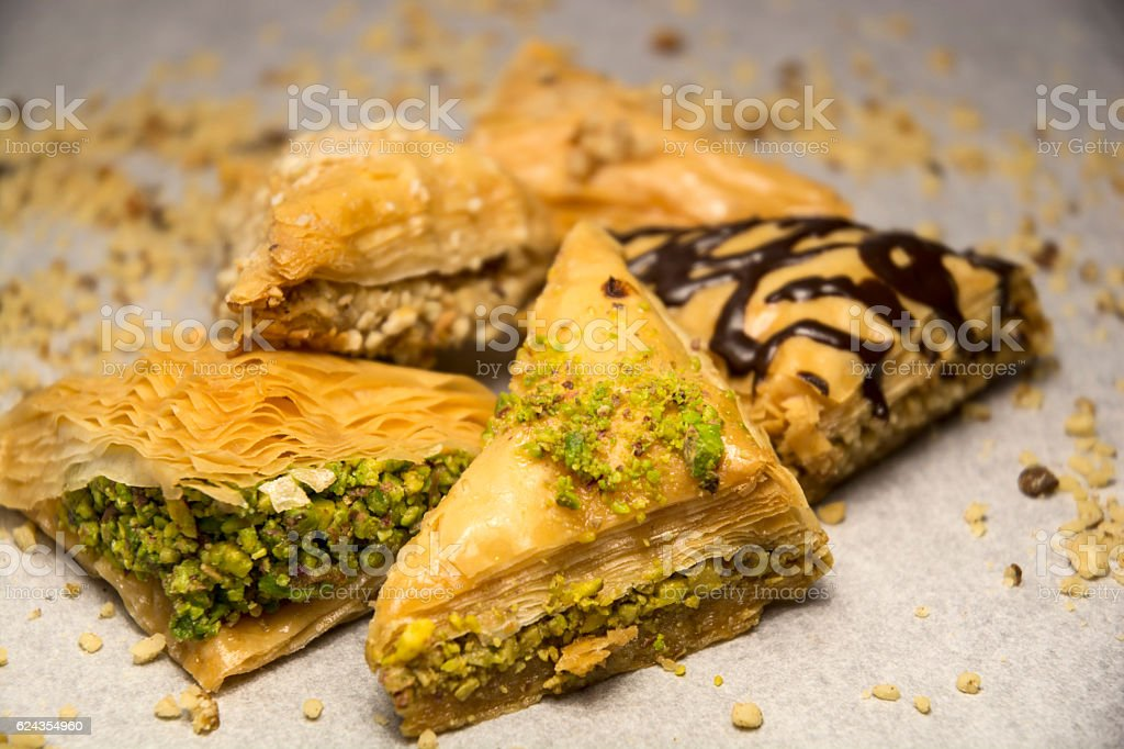 Chocolate Baklava Greek Cuisine Dessert stock photo