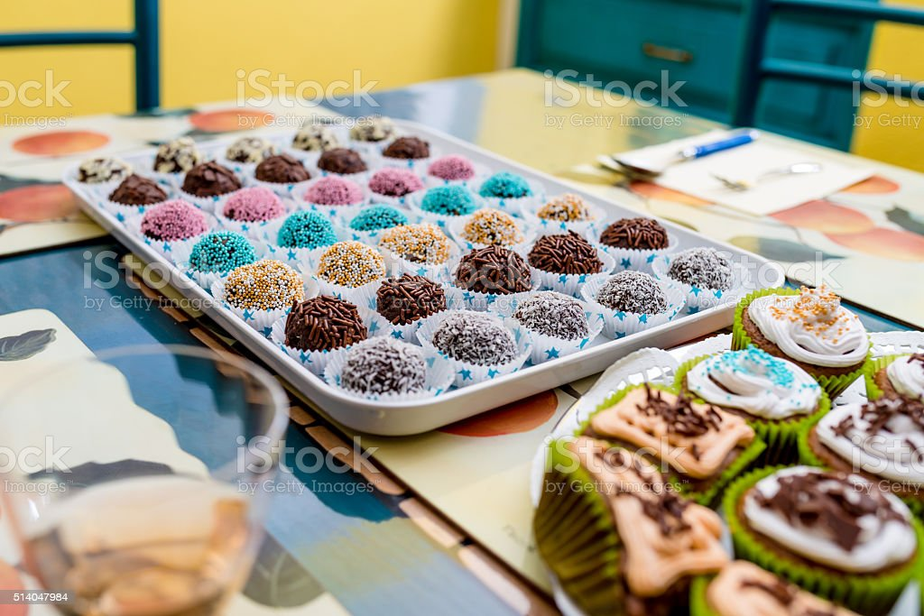 Chocolate balls and another desserts stock photo