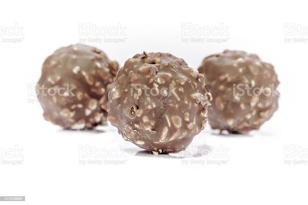 Chocolate balls or Chocolate bon bon stock photo