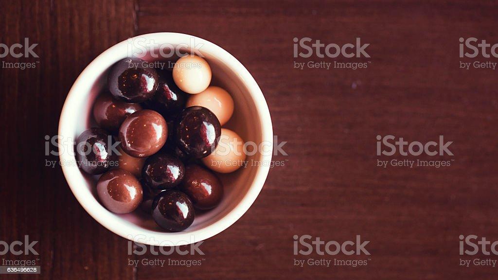 Chocolate balls stock photo