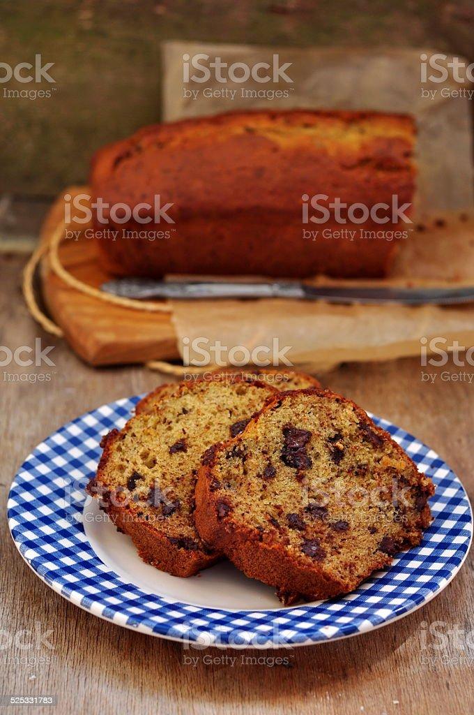 Chocolate banana bread, selective focus stock photo