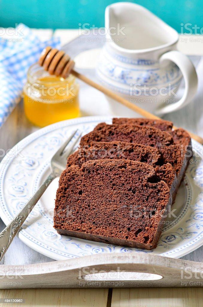 Chocolate banana cake for a breakfast. stock photo