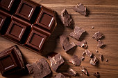 Chocolate bar and chocolate chunks shot directly above