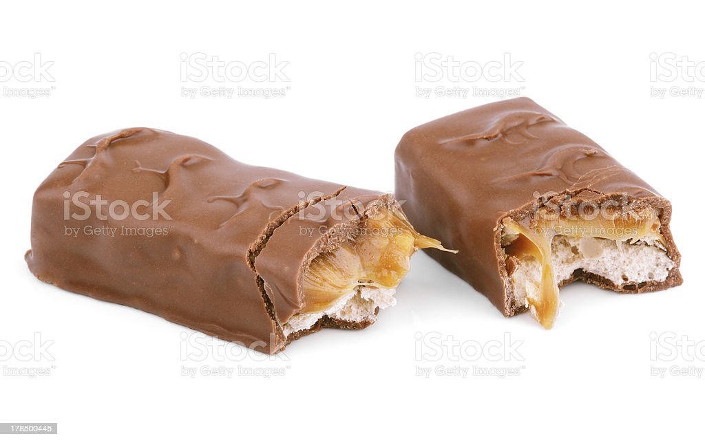 Chocolate bar isolated on white stock photo