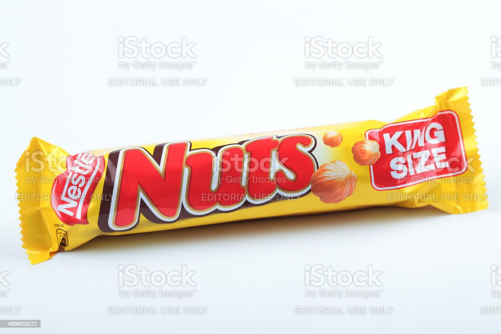 Chocolate bar Nestle Nuts King Size stock photo