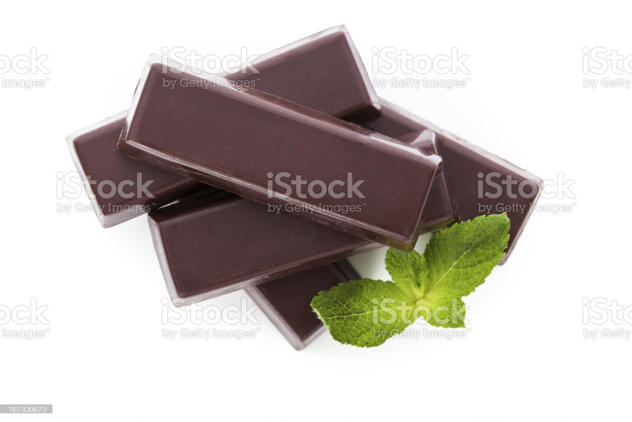Chocolate bar with mint isolated over white. royalty-free stock photo