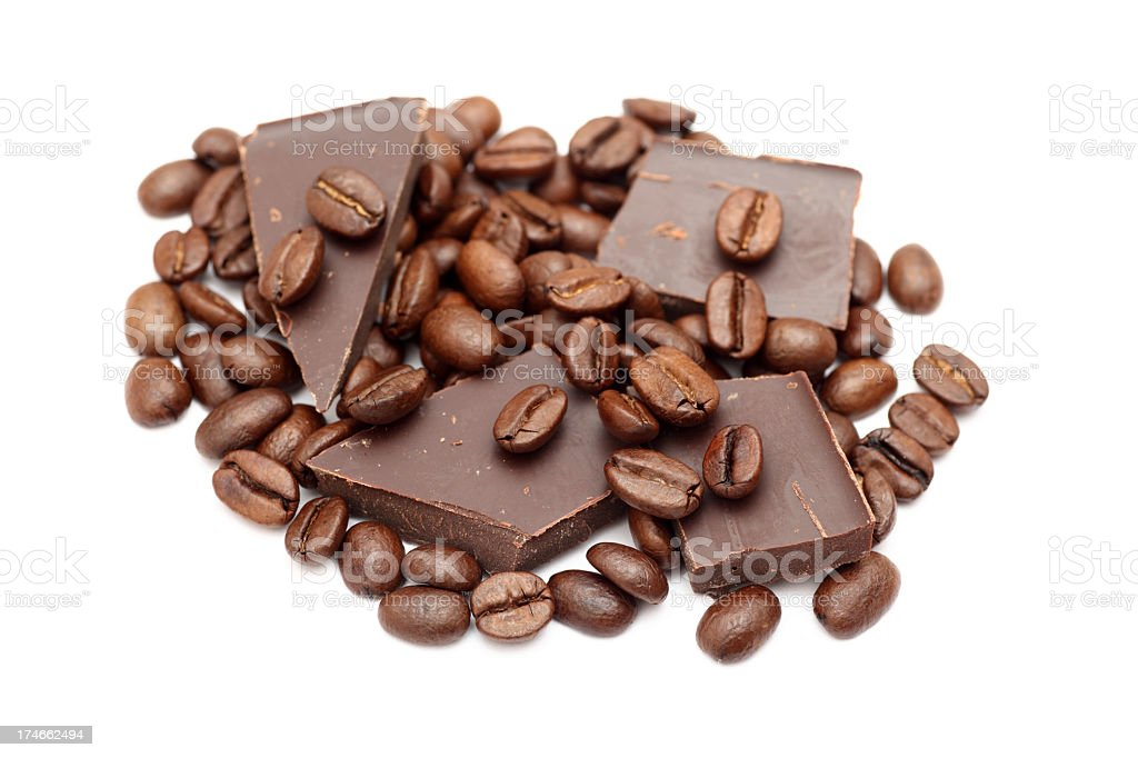 Chocolate bars and coffee beans on white background stock photo