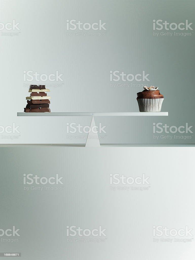 Chocolate bars and Cupcake balanced on seesaw royalty-free stock photo