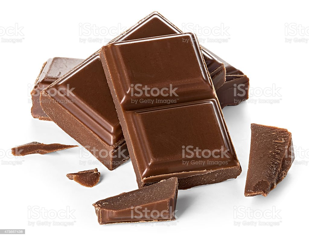 chocolate bars isolated on white background stock photo