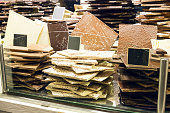 Chocolate bars stacked in store