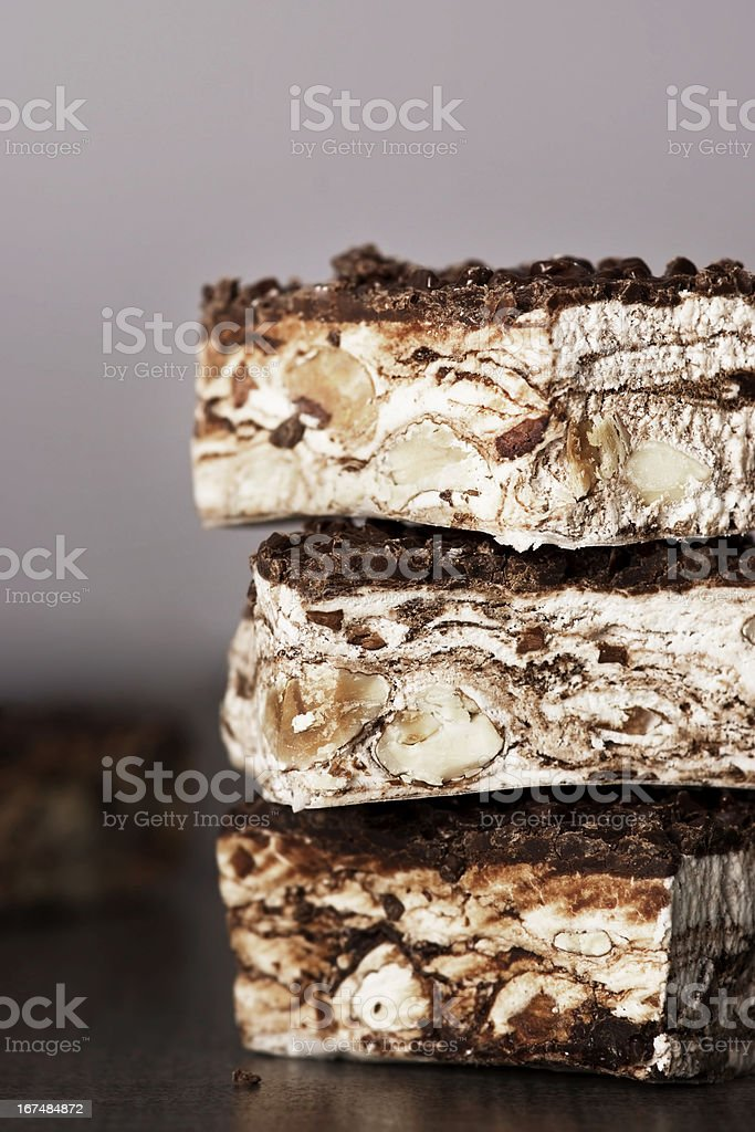 Chocolate Bars with Nuts and Dried Fruit royalty-free stock photo