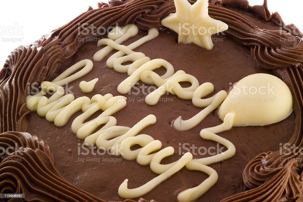 Chocolate Birthday Cake at an angle royalty-free stock photo