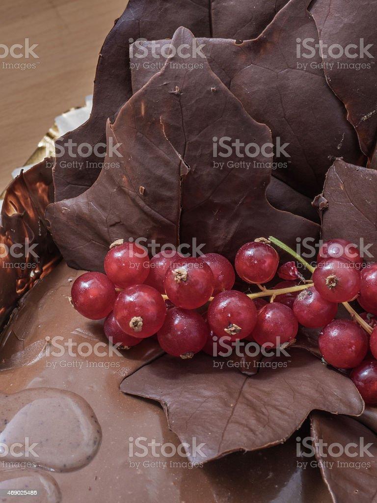 Bolo de aniversário com decorações de Chocolate foto royalty-free