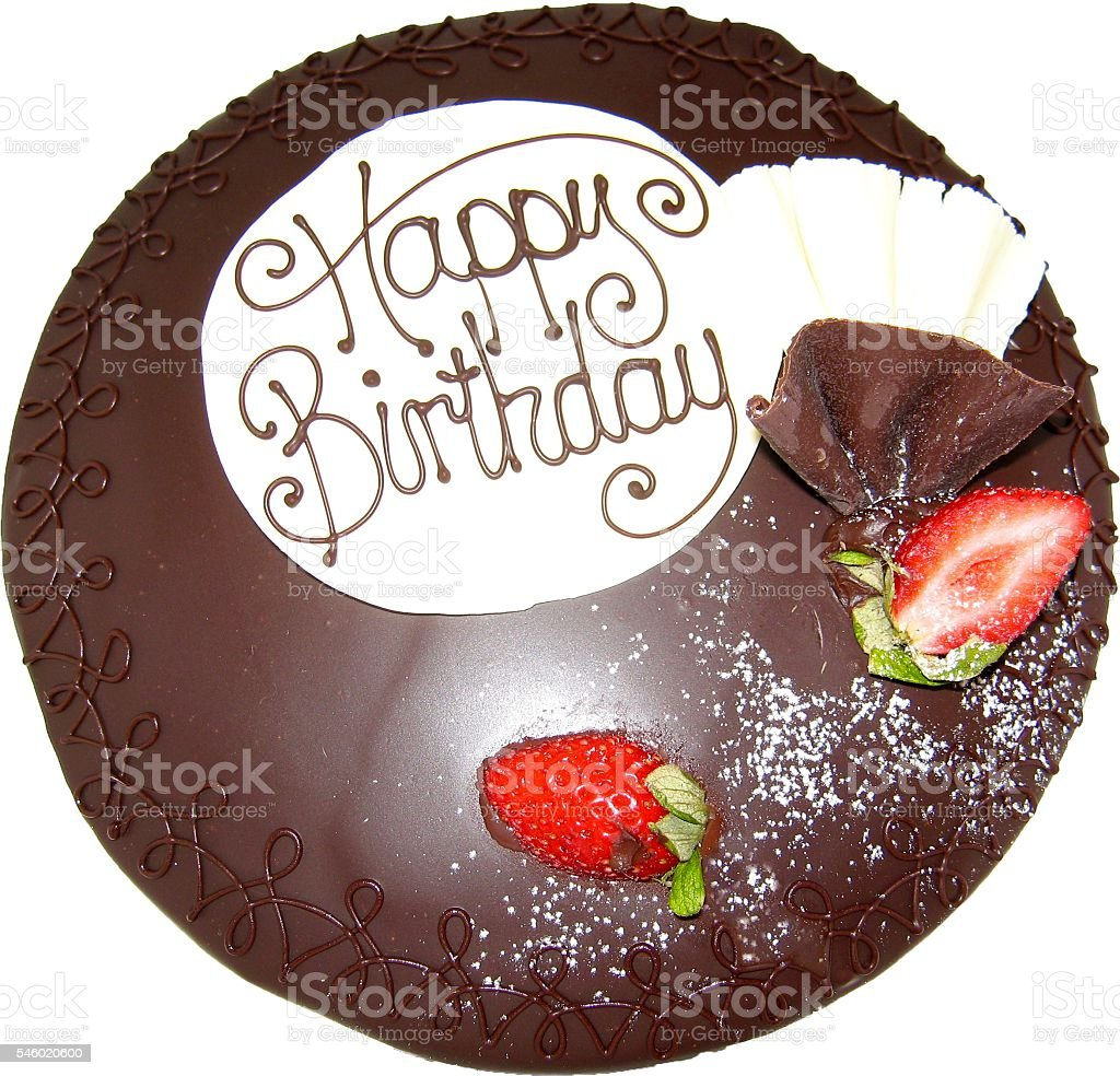 Chocolate Birthday Cake with Strawberries stock photo