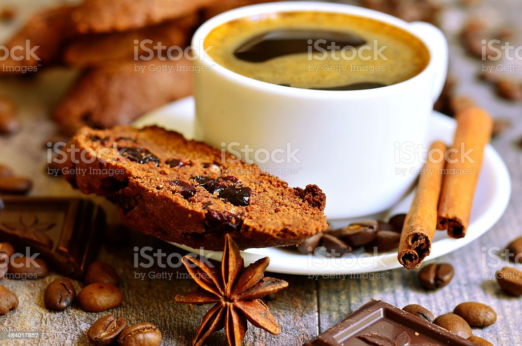 Chocolate biscotti with dried cranberry. stock photo
