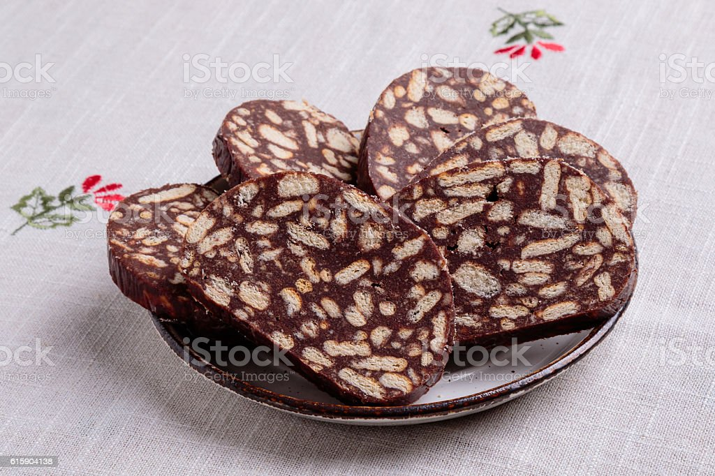 chocolate biscuit salami stock photo