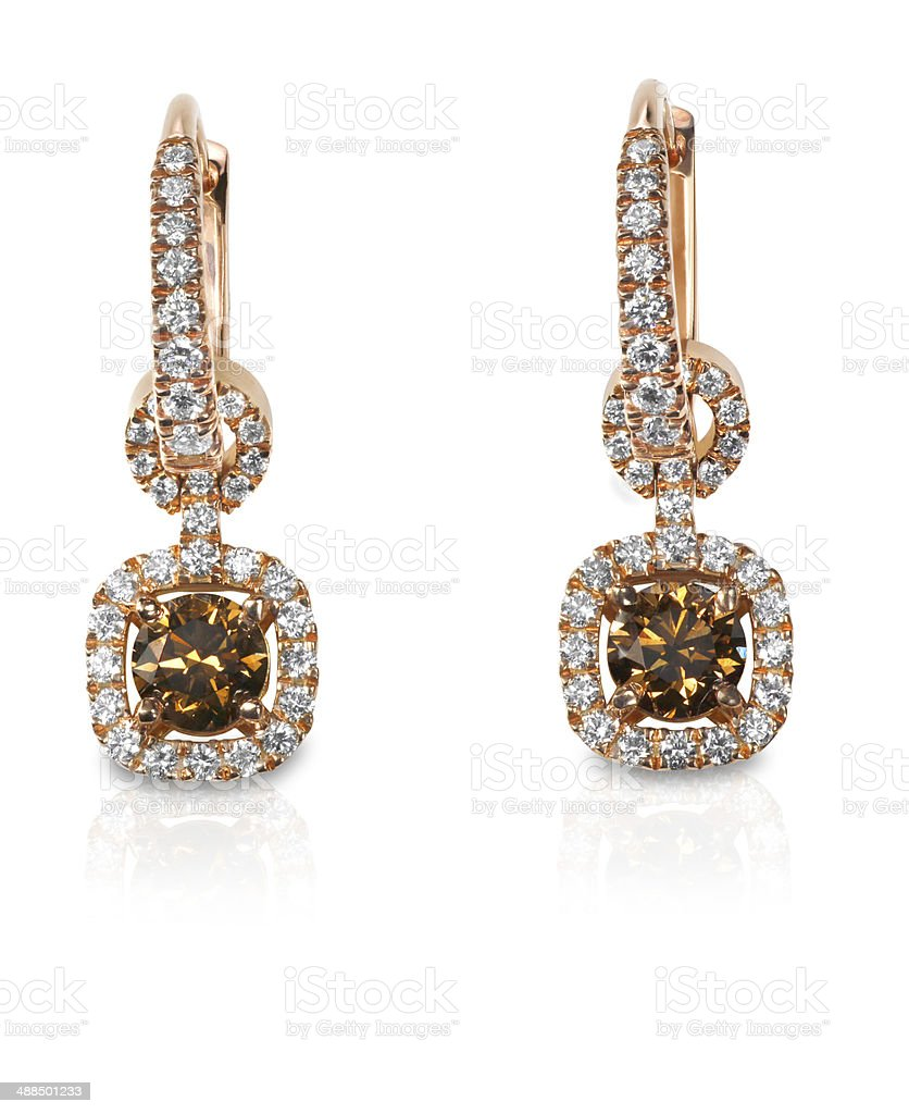 Chocolate Brown Diamond drop style dangle Earrings stock photo