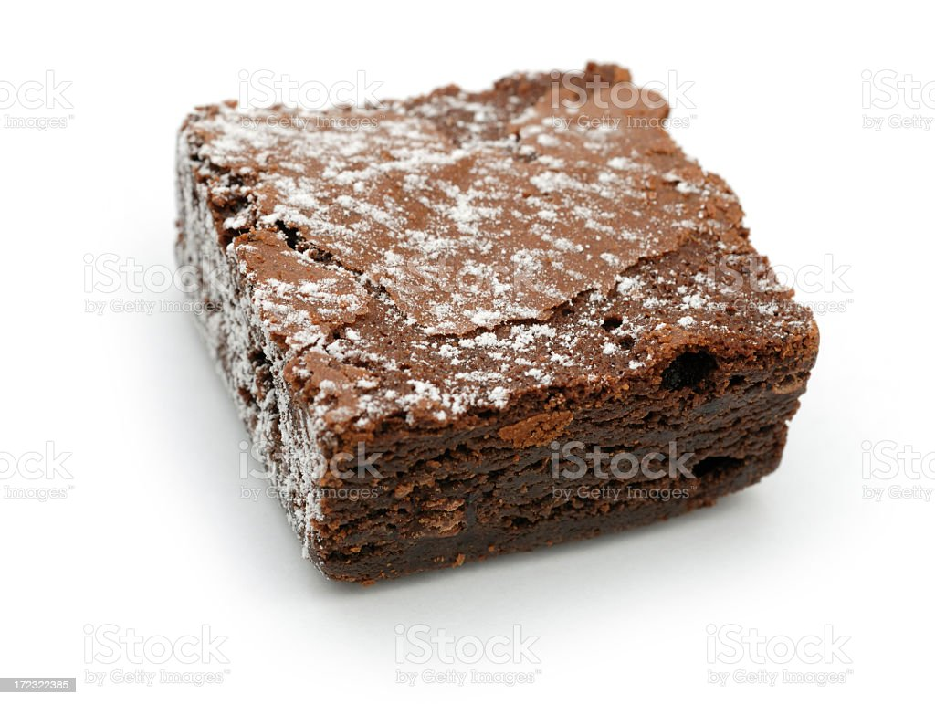 chocolate brownie against white royalty-free stock photo