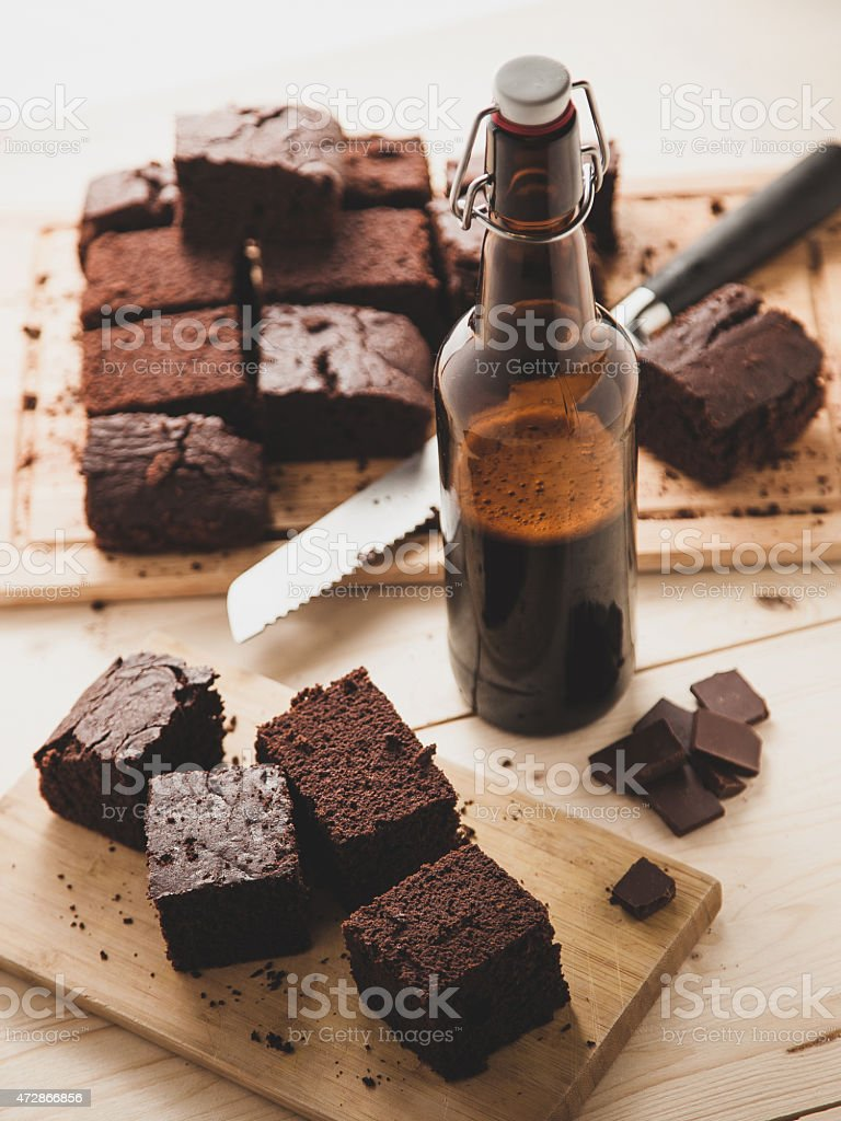 Chocolate brownie with beer stock photo