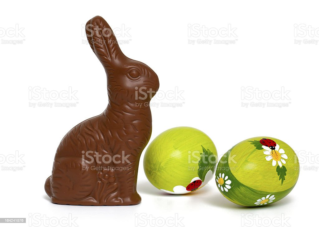 chocolate bunny and beautiful painted Easter eggs royalty-free stock photo