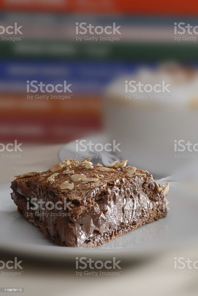 Chocolate Cake and Books stock photo