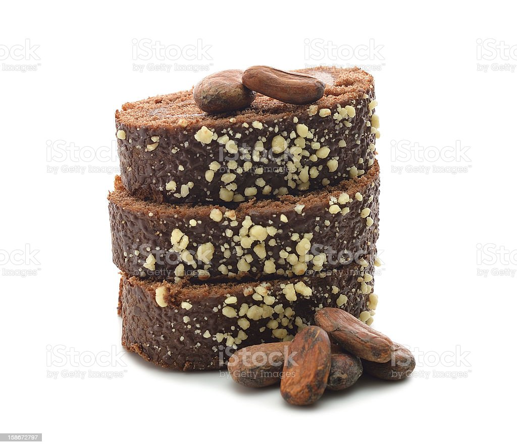 Chocolate cake and cocoa beans royalty-free stock photo