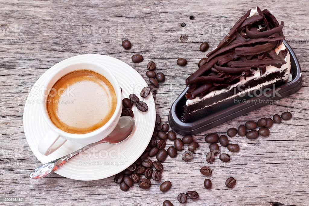 Chocolate cake and Coffee bean royalty-free stock photo