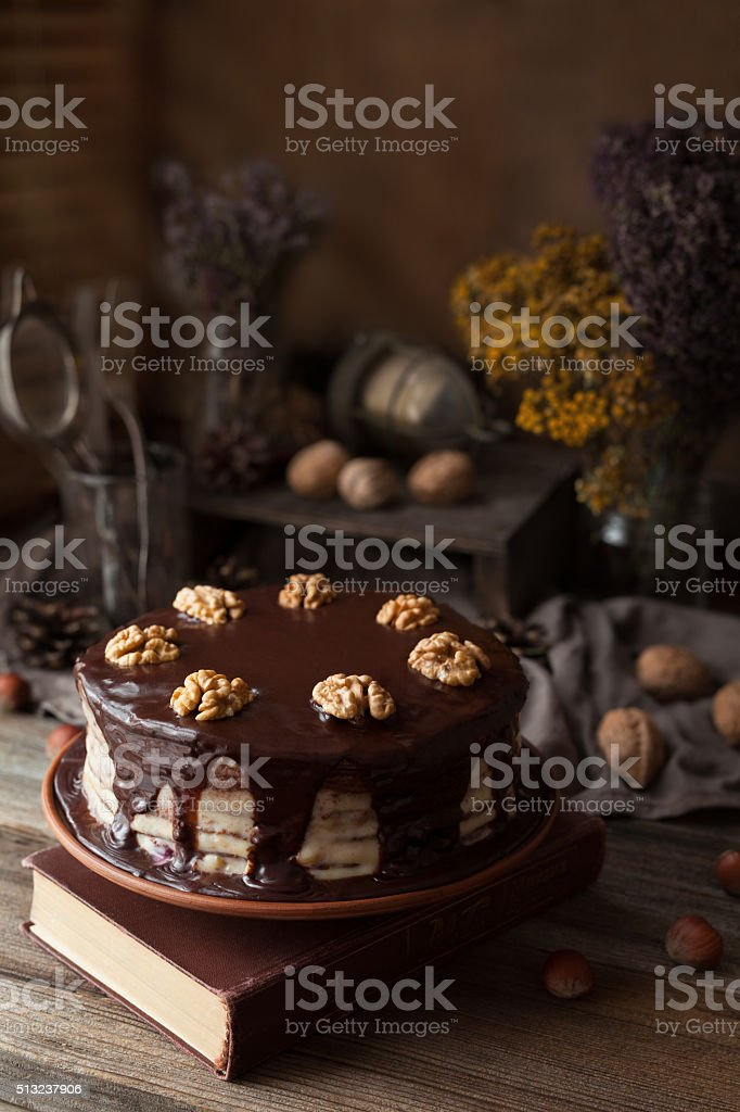 Chocolate cake dark food mystery composition with book and walnuts stock photo