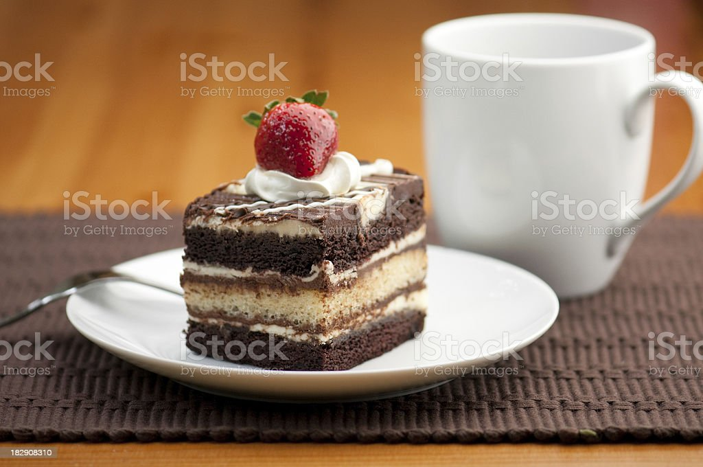 Chocolate cake dessert with coffee royalty-free stock photo