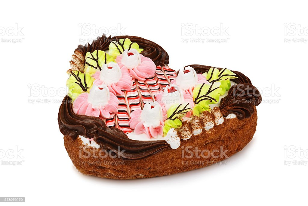 Chocolate cake in the shape of heart stock photo