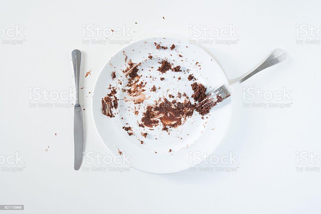 Chocolate cake leftovers royalty-free stock photo