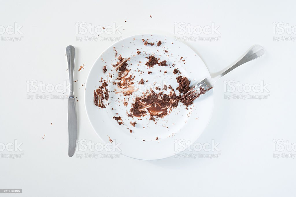 Chocolate cake leftovers stock photo